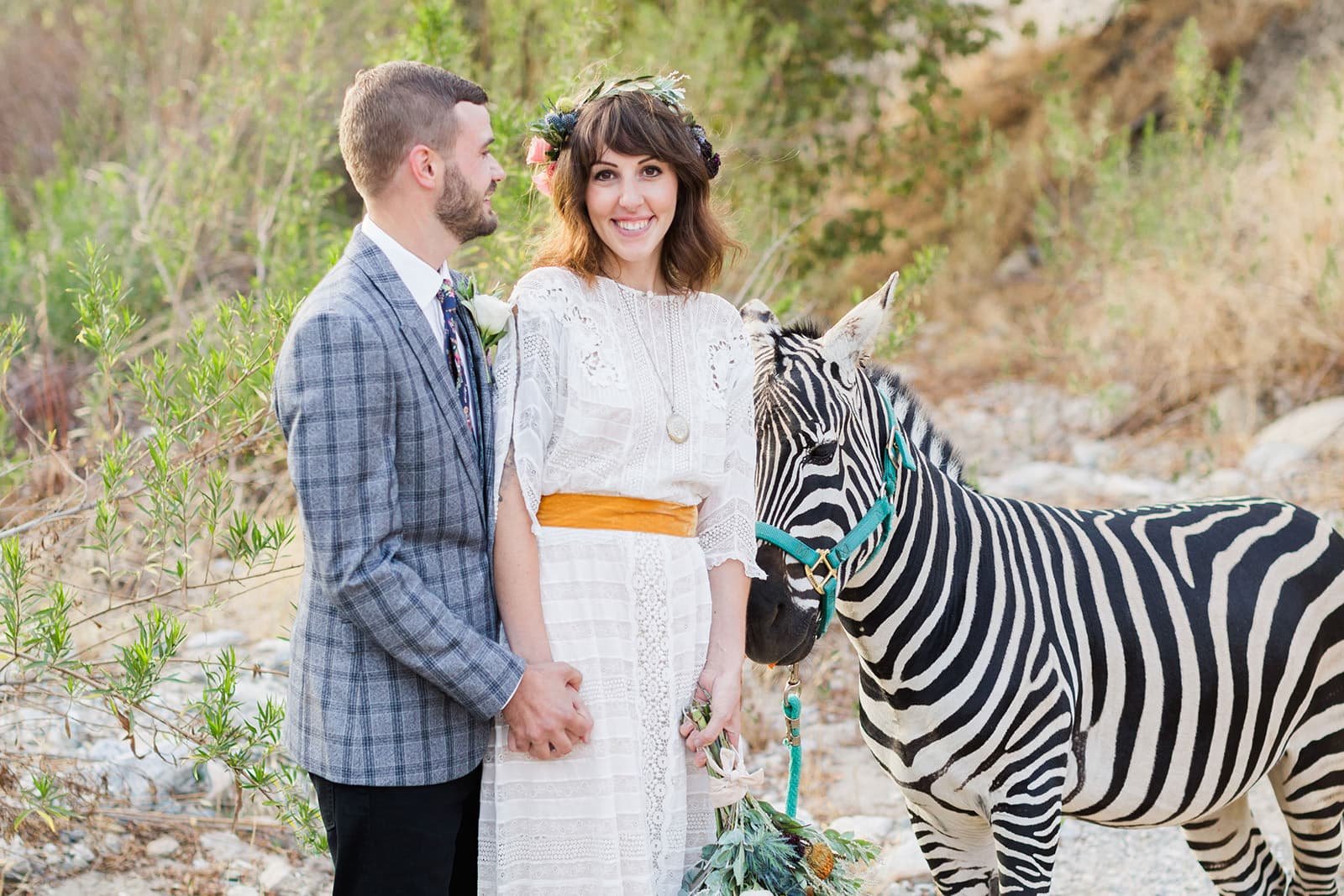 reptacular ranch wedding photos with zebra