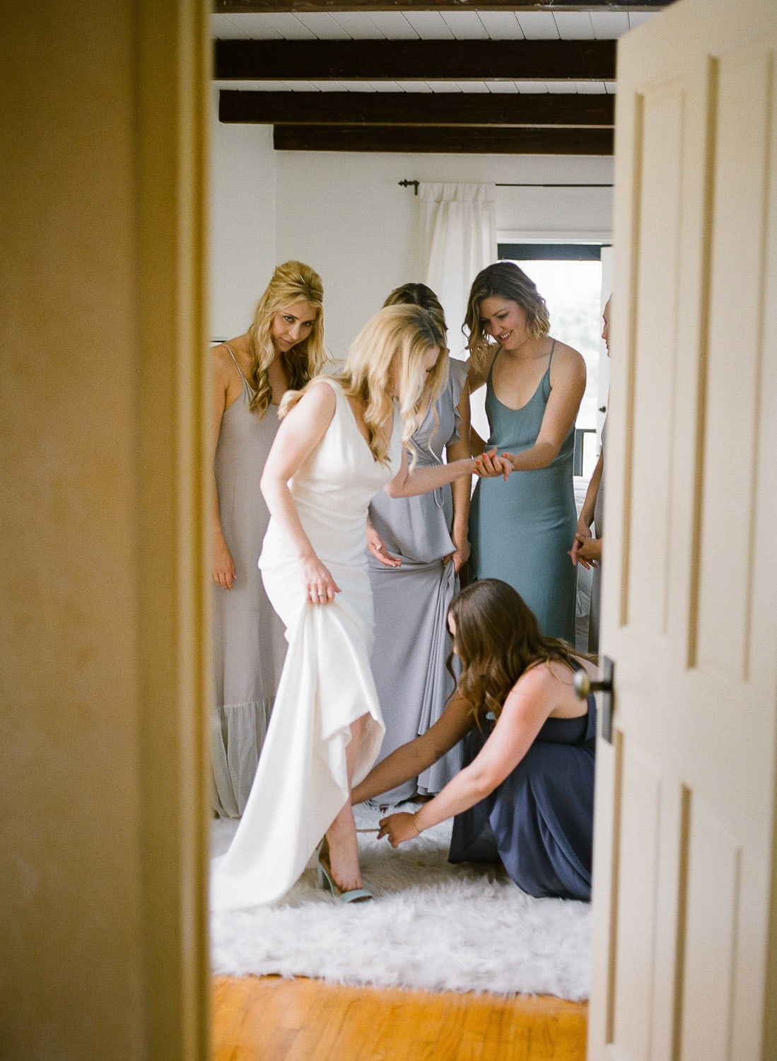 mismatched bridesmaids at santa barbara wedding