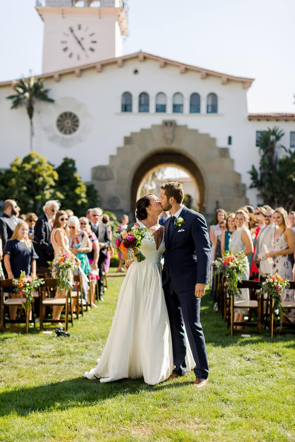 santa barbara courthouse sunken gardens wedding ceremony