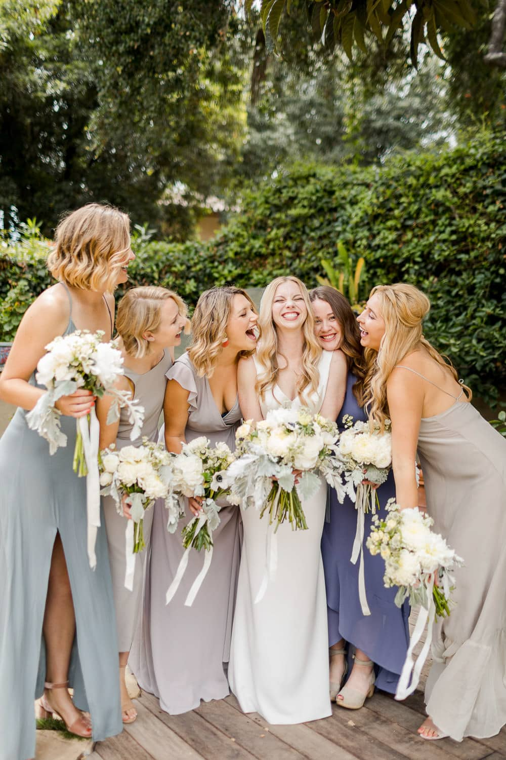mismatched bridesmaid's dresses at santa barbara wedding