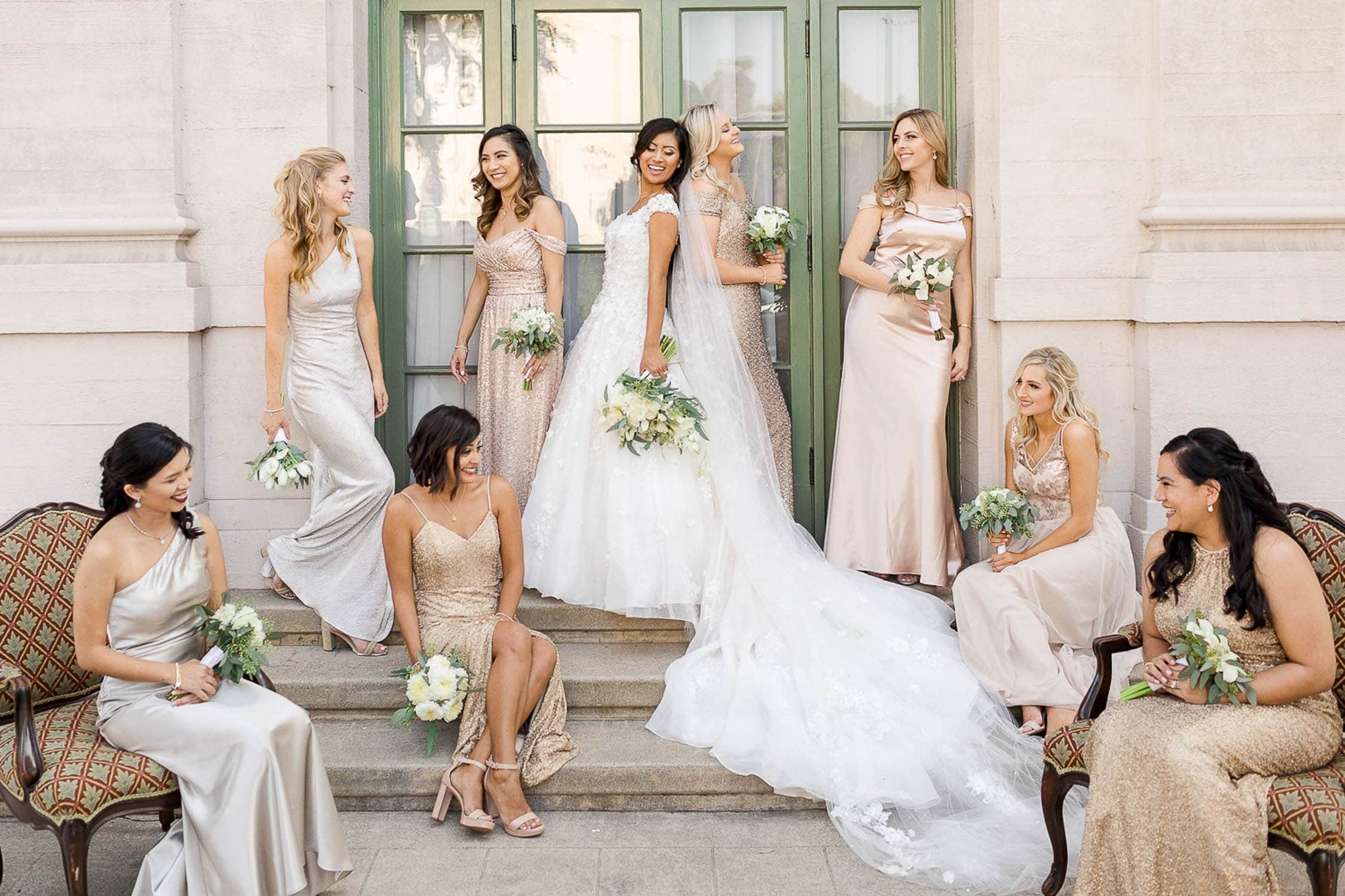 mismatched bridesmaid's dresses wedding party at the ebell of los angeles