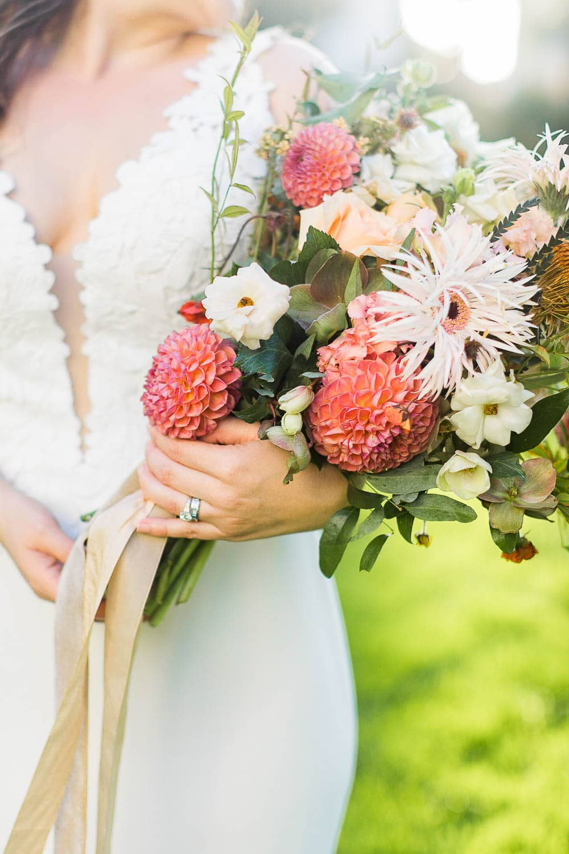 bridal bouquet at santa barbara courthouse wedding photographer
