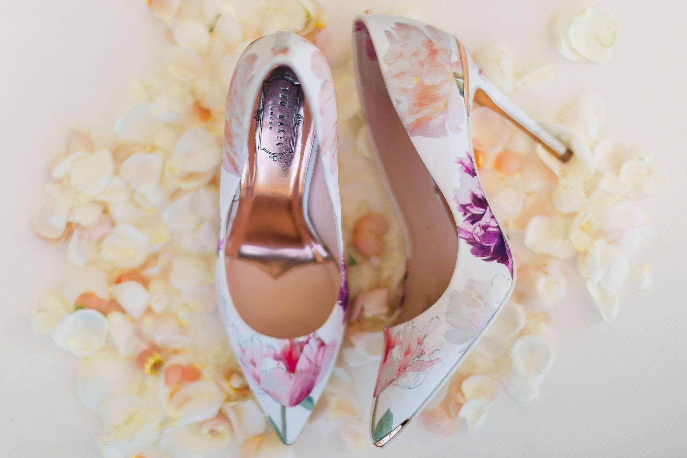 ted baker flower heels for santa barbara wedding