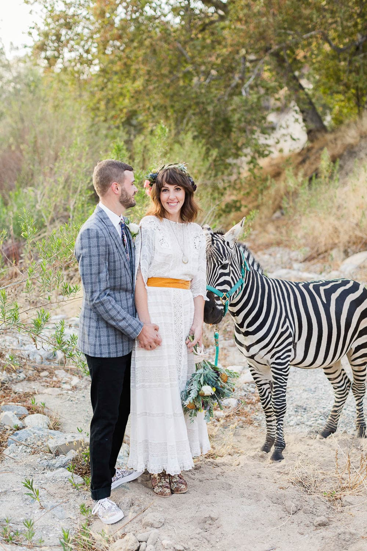 reptacular ranch wedding photos with zebra sylmar ca