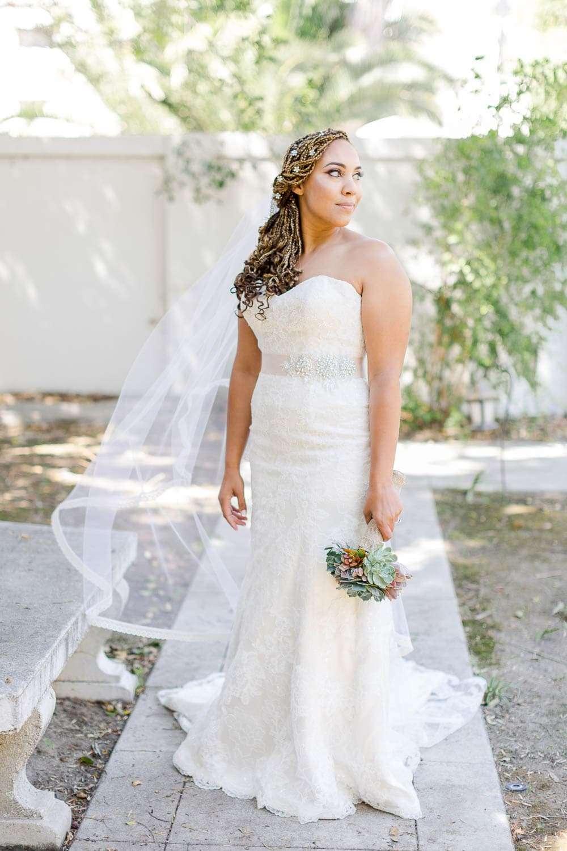 bride with braids at ventura wedding
