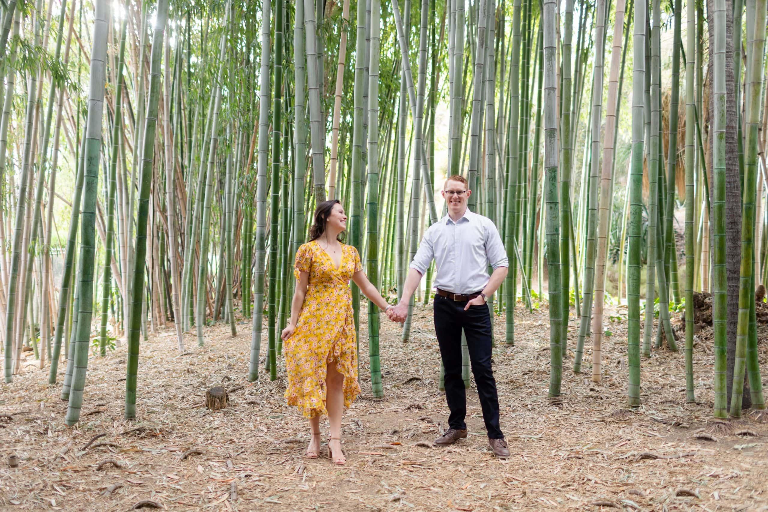los angeles arboretum engagement photos bamboo